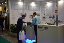 Специалисты компании Buhler-AHS консультируют посетителей выставки «Aqua-Therm Moscow 2015» по работе систем увлажнения воздуха